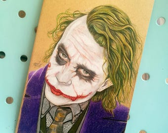Custom, Moleskine, Joker, Jared Leto, l size, Handpainted, Notebook, ilustration, fan art cover, lined pages, suicide squad