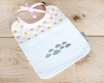 Bib baby Swaddle tie - Flora Rose - marking silver cloud pattern cotton fabric