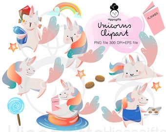 Cute unicorns clipart commercial use ,unicorns PNG graphics,planner digital clipart - A001