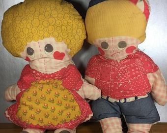 Vintage Rag Dolls- Boy and Girl