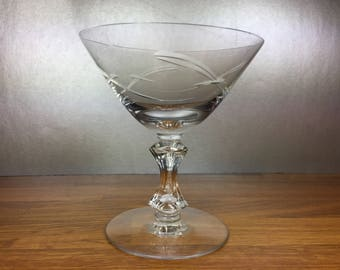 Etched Sherbet/ Champagne Glass