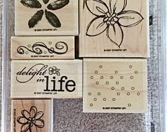 """Retired Stampin' UP rubber stamps.  """"Delight in life"""""""