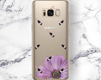 Galaxy S8 Plus Clear Case Champagne Pattern, Floral Print Champagne Pattern for Samsung Galaxy S8+ S7 iPhone 7 Girly Transparent Cover