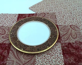 Dark Red and Cream Placemats - Set of 4