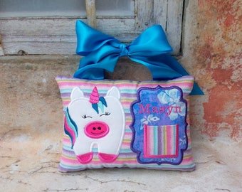 Unicorn Tooth fairy pillow.Embroidered unicorn pillow.