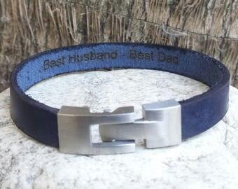 FREE SHIPPING-Coordinates Bracelet, Hidden Message Unisex Bracelet, Engraved Cuff Bangle, Personalized Bracelet,Custom Blue Leather Bracelet