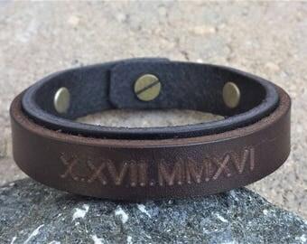 FREE SHIPPING-Double Strap Leather Bracelet, Roman Numerals Men Bracelet, Engraved Cuff Bracelet, Personalize Leather Bracelet, Custom Gift