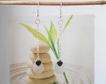 mother of Pearl chain drop earrings