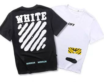 Off-white OW Mirror T-shirt Men Women 2017 Summer New Arrival Hiphop Tshirt Short Sleeve Cotton Black White Palace Skateboard
