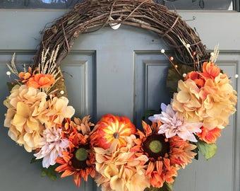 Fall grapevine floral wreath with metallic pumpkin, front door wreath, door wreath, fall wreath, pumpkin decor, fall decor