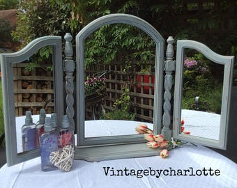 Large wooden dressing table mirror hand painted