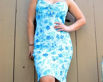 blue floral chiffon knee length dress spaghetti straps size XS S M