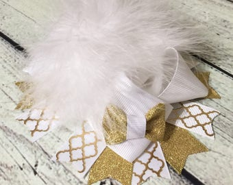 White and gold  Over The Top Hair Bow , white and gold over the top baby headband Girls Hair Bow ,Over The Top Hair Bow ,Holiday hair bow