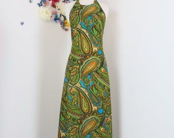 1960s 70s Dress - Maxi Dress - Paisley - Sexy Backless Sleeveless Halter Top A-line - Green Blue Brown - Tropical Exotic - Size XS/Small