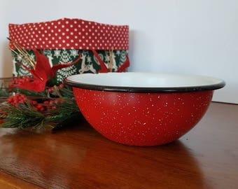 New Zealand, Vintage Enamel bowl, Small Enamel Mixing Bowl,  Enamel Bowl 1960's.  Tableware, Collectable Bowl, White enamel, Speckle Enamel.