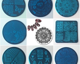 8 designs Nail Stamping Plates , Stainless Steel stencil Template Nail Stamp Tools, Sjabloon type nail art