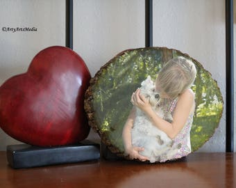 Pet picture on wood. Wall decor, kitchen decor. Wood print.  Photo on wood.