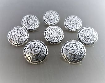 8 round buttons 15 mm silver engraved silver