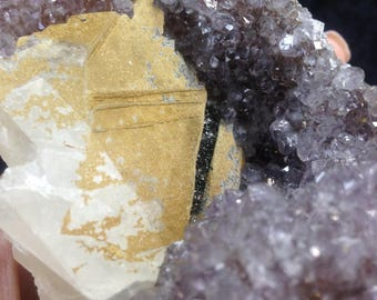 Amethyst Bedside Table Geode with Calcite and Black Druzy Self Standing