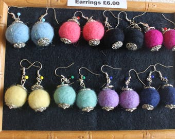 Felt  Earrings In A Selection Of Colours With Filigree Caps And Silver-Plated Fishhooks
