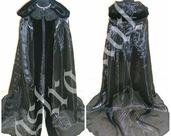 FUR HALLOWEEN cloak medieval cloak costume black cape handfasting Victorian witch vampire renaissance fancy tudor larp wicca gothic celtic