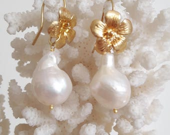 Baroque Pearl drop earrings with white and gold plated sterling silver flowers