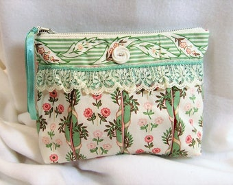 Clutch Purse Zippered Pouch Cottage Garden Style RPC7-07