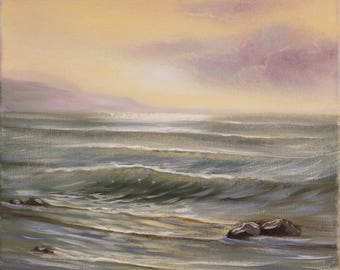 Coastal Landscape Oil Painting, Sunset Painting, Original Ocean Water Painting, , Realism, Ocean Waves, Seascape, Ocean Scene, Fine Art