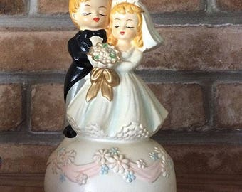 Midcentury Chalkware Bride and Groom Music Box Revolving Here Comes the Bride Wedding March Wedding Gift