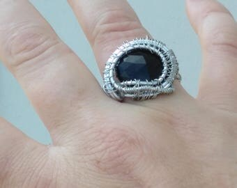 Black Tourmaline Gemstone Wire Wrapped Silver Ring
