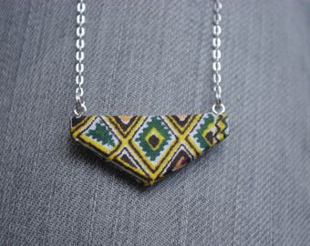 African fabric and wood pendant necklace