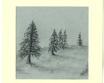 Drawing landscape of trees in charcoal