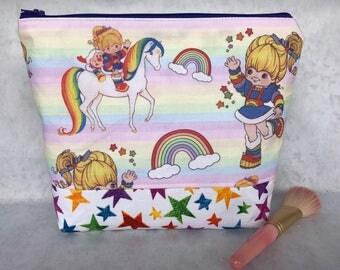 Girls RARE Rainbow Brite Starlite 80s Retro Cotton Makeup Bag Cosmetic Zipper Bag Pencil Pouch Knitting Bag