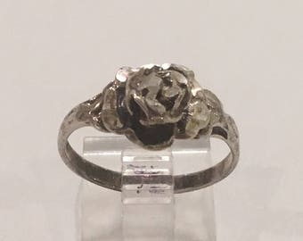 Vintage Solid Sterling Silver Handcrafted Rose Flower Floral Ring, Size 8.75