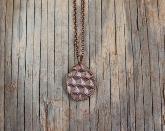 Real Genuine Honeycomb Copper Electroformed Pendant One of a Kind Queen Bee Beekeeper Bee Lover
