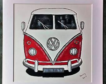VW Campervan. Original acrylic art. Mounted.