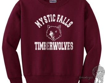 Mystic Falls Timberwolves White print on Crew neck Sweatshirt