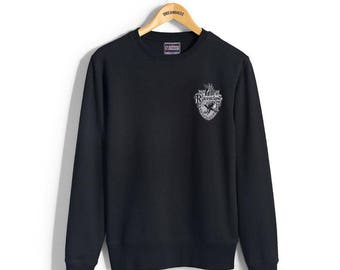Ravenc Crest #2 Pocket WHITE print on Black Crew neck Sweatshirt