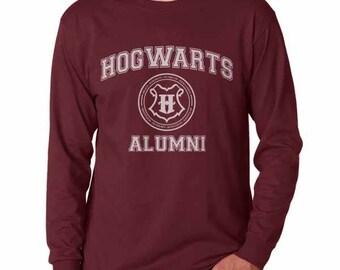 Hgwrts Alumni #2 White print on Longsleeve MEN tee
