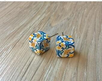 20% OFF SUMMER SALE Portuguese majolica tiles replica cube stud earrings, cube earrings, geometric cube stud earrings, azulejos, Portugal, P