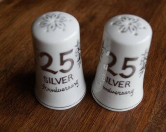 25th Silver Anniversary Salt and Pepper Shakers, made in Japan c. 1970s