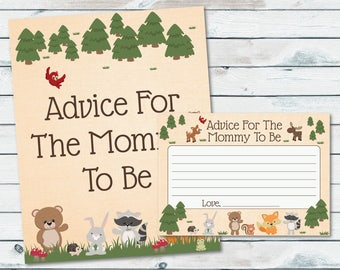 Advice For Mommy To Be Baby Shower Cards, Woodland Baby Shower Advice For The Mommy To Be Printable, Printable Advice For Parents - WOD01
