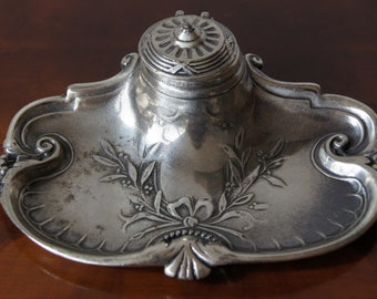 Antique silver plated inkwell 1800's ornate inkwell desk accessories