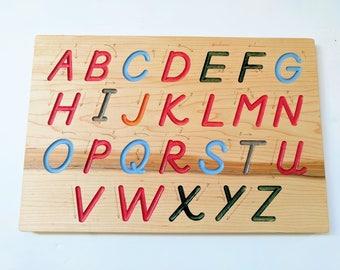 Alphabet Tracing board - Montessori Alphabet - Special needs - dexterity board - D'Nealian writing board - alphabet tracer - uppercase