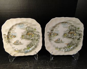 """TWO Johnson Brothers Happy England Square Salad Plates 7 5/8"""" Set of 2 EXCELLENT!"""