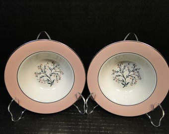 "TWO Homer Laughlin Cavalier Springtime Berry Bowls 6""  CV32 Pink Set of 2 EXCELLENT!"