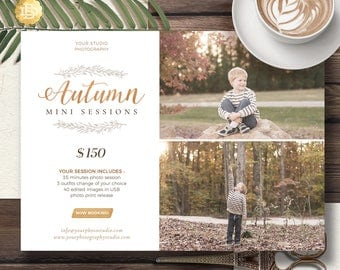 Fall Mini Session Template for Photographers, Autumn Mini Session Marketing Card, Mini Session Photoshop Template - INSTANT DOWNLOAD - MS026