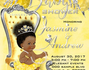 Baby Shower Invitation, African American Baby Girl Shower Invitation, Personalized, Printable, Custom Name,YS-057,YS-057a, Personal use only