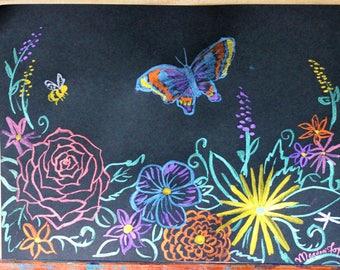 DOODLE - Metallic Watercolor Garden on Black Paper