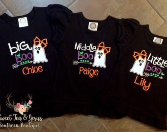 Girls Halloween Shirts - Big Boo Middle Boo Little Boo Baby Boo Sisters Halloween Shirts - Halloween Siblings Shirt Set - Siblings Boo Shirt